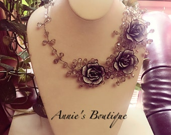 Beautiful clay flower wired necklace handmade