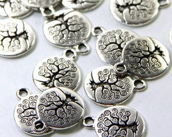 Tree Of Life Charms, TierraCast, 15mm Round, Double Sided Charms, Tree Charms, Fine Silver Plated Lead Free Pewter, 4 or More Pieces, 0312