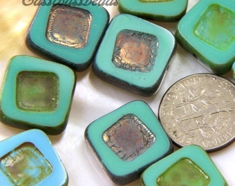 14mm, Czech Glass, Carved Square Beads, Green And Blue With A Picasso and Metallic Finish~  5 Pieces