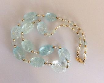 Carved Aquamarine Vintage Necklace 14k