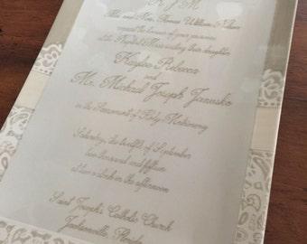 Personalized Wedding Invitation Plate: 11x14 Wedding Platter, Wedding Gift, Anniversary Gift, Ceramic Wedding Platter, Commemorative Platter