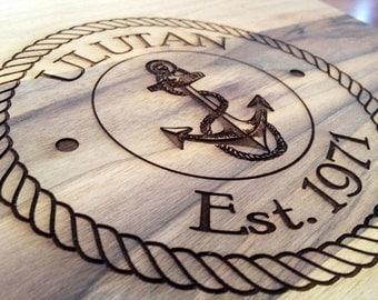 Personalized Nautical Cutting Board, Custom Wedding Gift Bridal Shower Gift Anniversary/ Lighthouse Chopping Board, Anchor Cutting Board