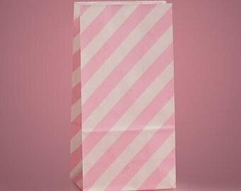 "3-5/8"" x  2-1/4"" x 7"" Light Pink Diagonal Stripe Bags - 20 Quantity"