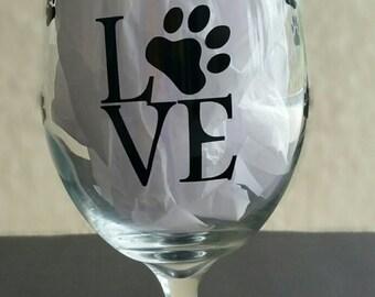 Wine Glass Dog Love paw print wine glass