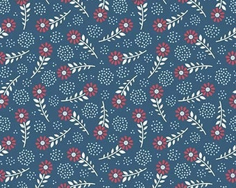 Parade on Main fabric, Riley Blake Designs, Floral in Navy (C6083-Navy) -- BY THE YARD