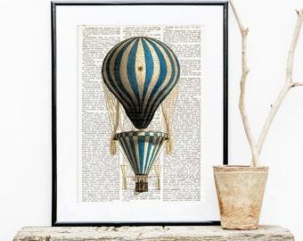 HOT AIR BALLOON Dictionary Print, Antique Balloon print, wall art, Montgolfier, Air Balloon Dictionary Art Print, Balloon Decoration #153-06