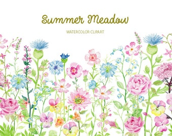 Watercolor clipart Summer Meadow for instant download, pink flower meadow, summer border, flower border and summer flowers
