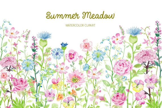 Watercolor Clipart Summer Meadow For Instant Download