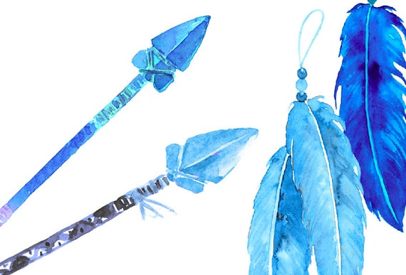 Watercolor Indigo Arrows And Feathers For Instant Download