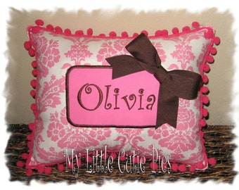 Girls monogram pillow, pink damask pillow, nursery pillow, girls room decor