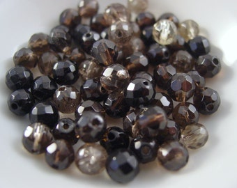 Smokey Quartz Light and Dark Brown Mix. 6 mm Faceted Round. 12 Beads- #4428