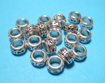 30pcs Patterned Antique Silver Spacer Beads 6x3mm Large Hole Spacer Beads(No.928Y)