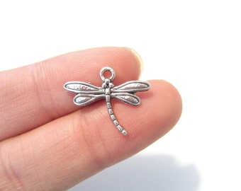 20pcs Antique Silver Dragonfly Charms Pendants 15mmx17mm Tibetan Silver Charm(No.047)