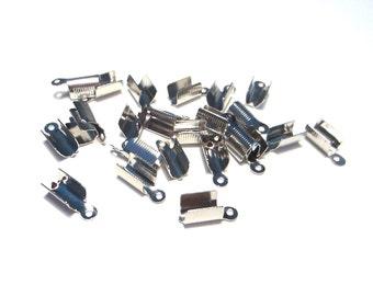 50pcs Silver Tone Folding Crimp Ends Cord Crimp End Caps 12x5mm Cord End (No.056)