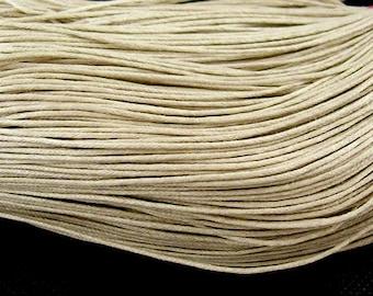 30ft Light Khaki Wax Cotton Cord Bracelet Necklace Cord 1mm (No.115)
