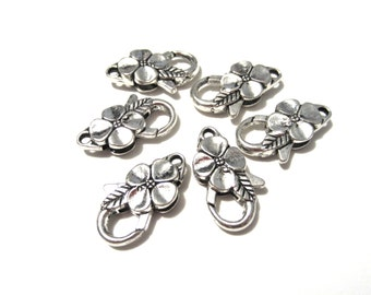 5pcs Antique Silver Large Flower Lobster Claw Clasps 25x14mm