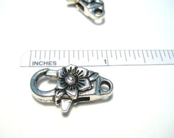 5pcs Antique Silver Large Flower Lobster Claw Clasps 24x13x7mm