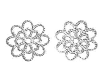 Silver Plated Filigree Flower Links 14mm