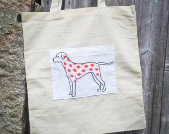 Dalmatian Drawing Printed Cotton Tote Bag Shopper Book Bag