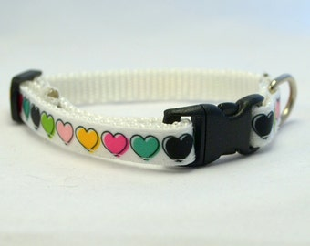 Customizable Rainbow Hearts Breakaway Cat Collar