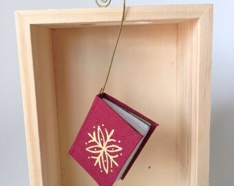 Miniature Book Ornaments with Hand Painted Snowflakes