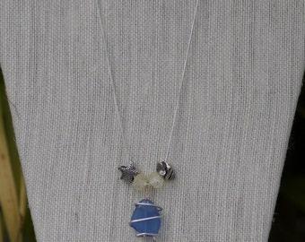 "18"" Sea Glass Starfish Bead Necklace"