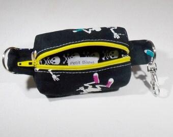 Glow in the dark zippered pouch key fob