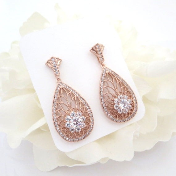 Rose gold bridal earrings art deco rose gold earrings for Deco maison rose gold