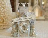 Shabby Blue Cottage Ornament, Christmas Putz Glitter House, Christmas or Spring village display.