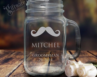 Personalised Engraved Mason Jar Drinking Glass Redneck Mug Wedding Gift Bridal