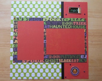 Halloween Scrapbook Layout - Happy Halloween - Ghosts - Trick or Treat - Haunted House - Premade 12 x 12 One Page Layout