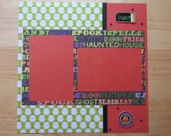 Halloween Scrapbook Page - Halloween Scrapbook Layout - 12 x 12 Scrapbook - Happy Halloween - Trick or Treat - Halloween Party