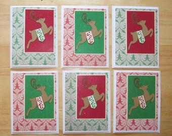 Christmas Reindeer Card - Merry Christmas Card - Christmas Card Set - Xmas Card Set - Happy Holidays - Homemade Card - Set of Six (6) Cards