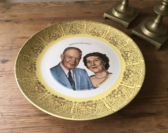 """10"""" Porcelain Commemorative Plate / America's First Family President and Mrs. Dwight D. Eisenhower"""