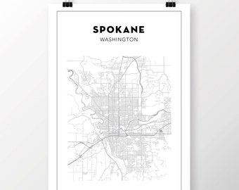 FREE SHIPPING to the U.S!! SPOKANE Map Print