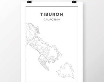 FREE SHIPPING to the U.S!! TIBURON Map Print