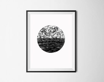 Nautical Print/ Ocean Print/ Sea Illustration/ Clouds Print/ Waves Wall Decor/ Black and White Print/ Pen Illustration/ Ink Drawing