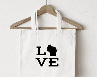 Love Wisconsin tote bag/custom tote/market bag/canvas shopping bag/ state tote/ market tote/ reuseable bag/ WI state bag/ gold glitter