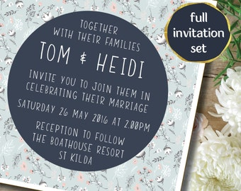 Set of 4 Wedding Invitation - Blue floral watercolour square