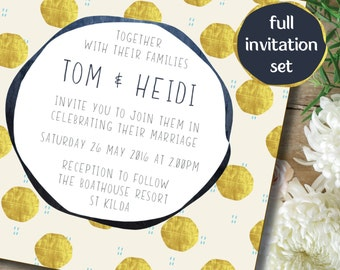 Set of 4 Wedding Invitation - Gold foil polkerdot design
