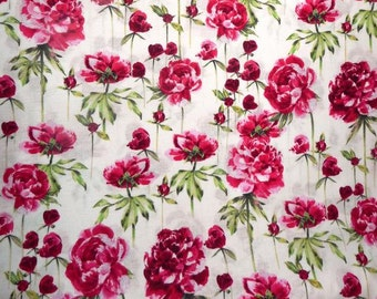 Fabric - Makower Inprint - Peony cotton print.