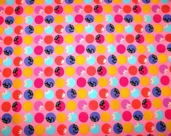 SALE - Fabric - Sevenberry- peek a boo kitten dot cotton print