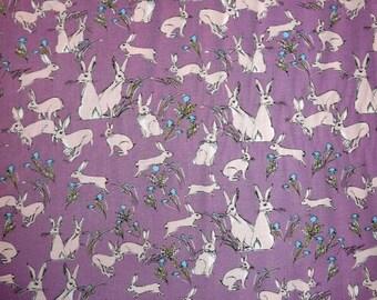 Fabric - Makower Inprint - rabbits and hares cotton print - fat quarter