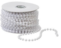 Bridal Faux White Pearls 6 mm on Spool 50-Feet,White Bead Pearls For Craft Embellishment Or Wedding Decoration, Elegant White Wedding Pearls