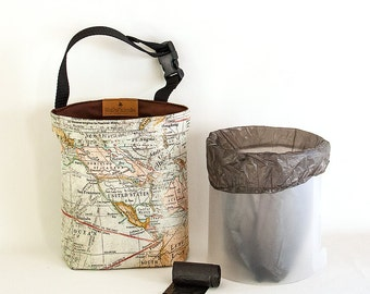 Car Trash Bag, Reusable Tote Trash Container with Removable Liner, Map