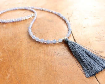 Light blue gemstone necklace with pure silk tassel