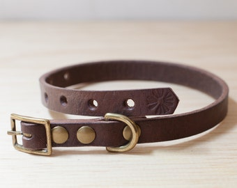 Thin Vegetable Tanned Leather Dog Collar - Dark Brown