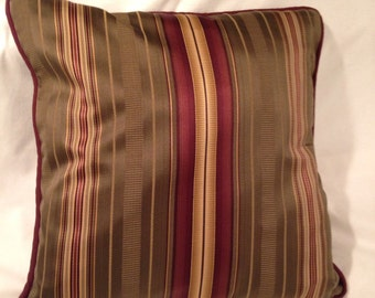 Taupe, gold and burgundy striped pillow cover.
