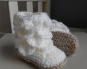 "Snuggly Crochet Baby Boots ""Mallow Biscuit"""