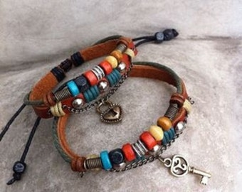 New handmade two couple leather bracelet WOOD BEAD for him and for her free shipping
